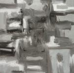 Predator 1, 2011, Silver acrylic, oil/canvas 18x18 inches