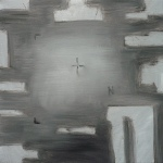 Predator 5, 2011, Silver acrylic, oil/canvas 18x18 inches