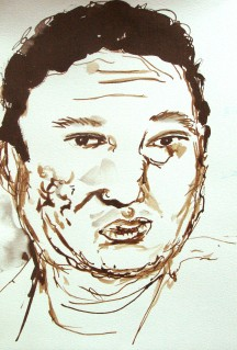 Noriega, 2007, ink on paper 15 x 10 inches