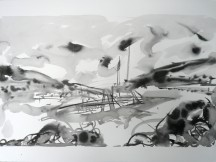 TGP3-02 River 1 (2009) Sumi ink on Arches paper. 22 x 30 inches 26 x 36-3/8 inches framed