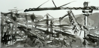 TGP_028 (2008) Sumi ink on paper. 15 x 21-1/2 inches (paper size)