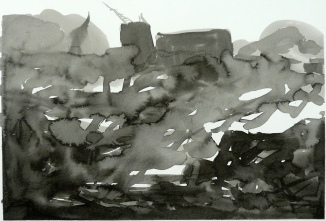 TGP_029 (2008) Sumi ink on paper. 15 x 21-1/2 inches (paper size)