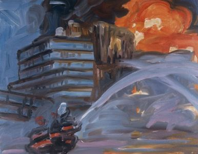 New York's Chelsea Art District On Fire (1), 2004, oil on canvas,16x20 inches. PRIVATE COLLECTION