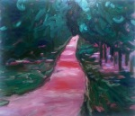 Pinkish Path, 2016, oil on canvas, 38x44 inches